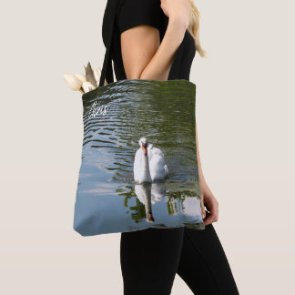 Swan with Striking Reflection Tote Bag