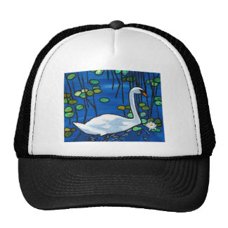Swan with Waterlily Trucker Hat