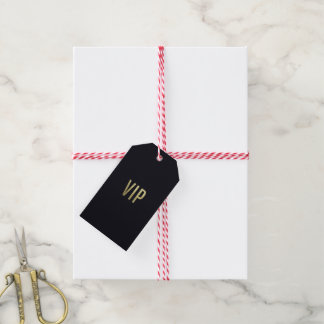 """Swanky Faux Gold Leaf Foil """"VIP"""" Typography Gift Tags"""