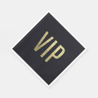 Swanky Faux Gold Leaf Foil VIP Typography Napkin