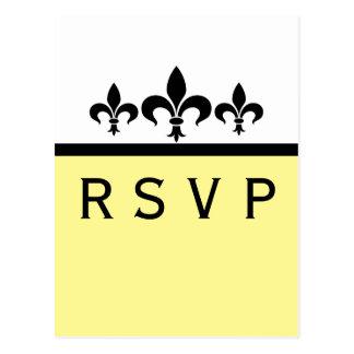 Swanky Fleur De Lis RSVP Card, Yellow Postcards