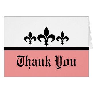 Swanky Fleur De Lis Thank You Card, Pink