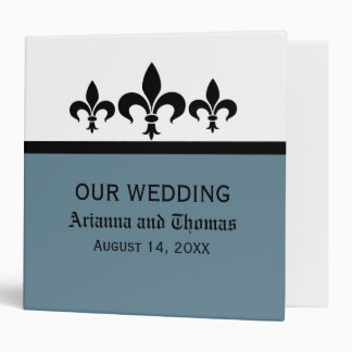 Swanky Fleur De Lis Wedding Binder, Blue
