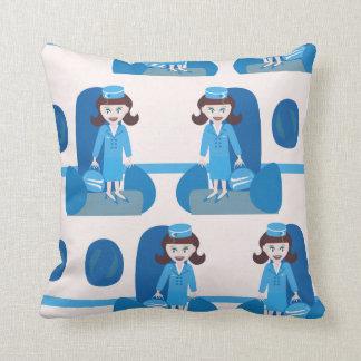 Swanky Jet Set Stewardess Throw Pillow