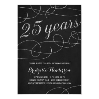 Swanky Silver 25th Birthday Party Card