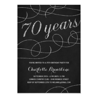 Swanky Silver 70th Birthday Party Card