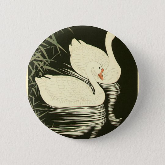 Swans and Reeds 2 Inch Round Button