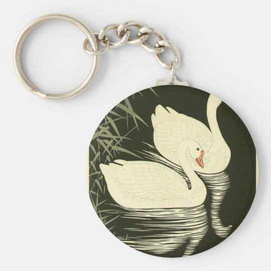 Swans and Reeds Basic Round Button Keychain