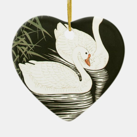 Swans and Reeds Ceramic Heart Ornament