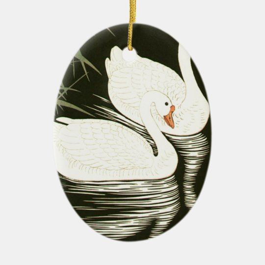 Swans and Reeds Ceramic Oval Ornament