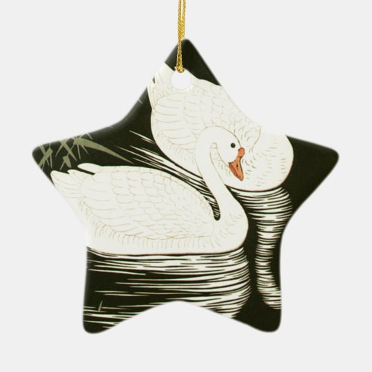 Swans and Reeds Ceramic Star Ornament