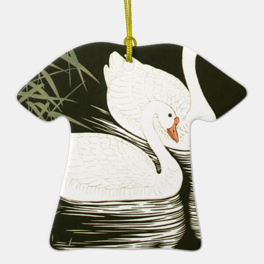 Swans and Reeds Ceramic T-Shirt Ornament