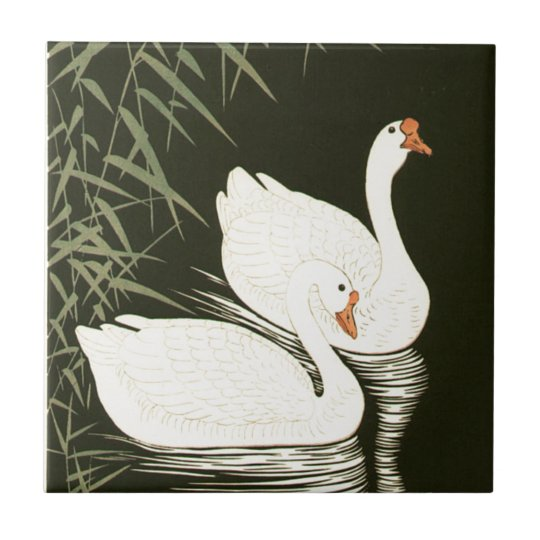 Swans and Reeds Ceramic Tile