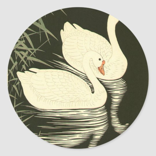 Swans and Reeds Classic Round Sticker