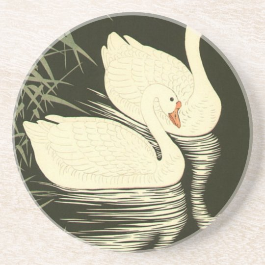 Swans and Reeds Drink Coaster