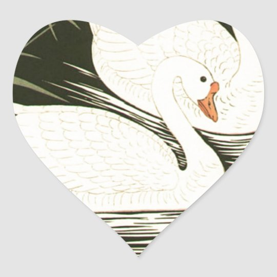 Swans and Reeds Heart Sticker