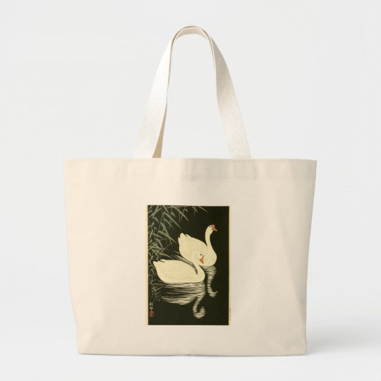 Swans and Reeds Large Tote Bag