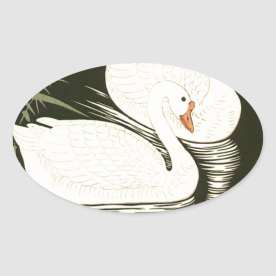 Swans and Reeds Oval Sticker