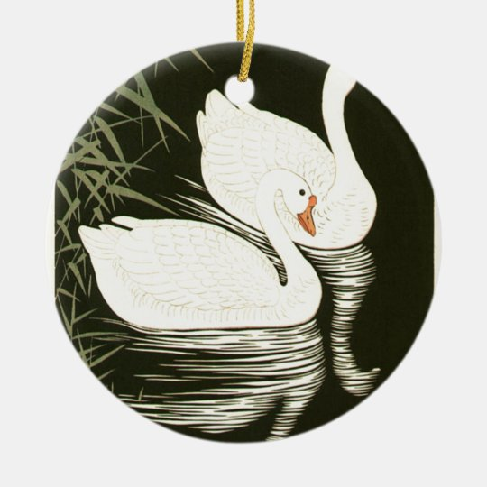 Swans and Reeds Round Ceramic Ornament