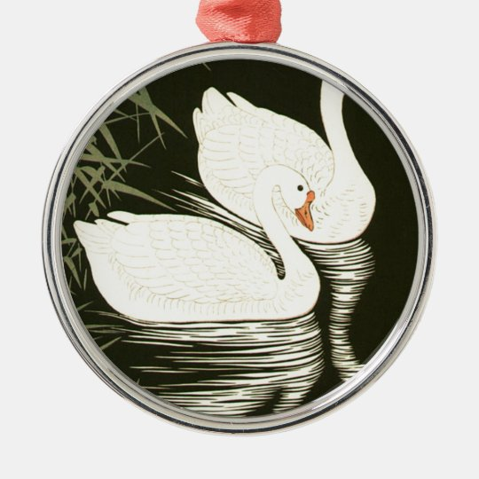 Swans and Reeds Silver-Colored Round Ornament