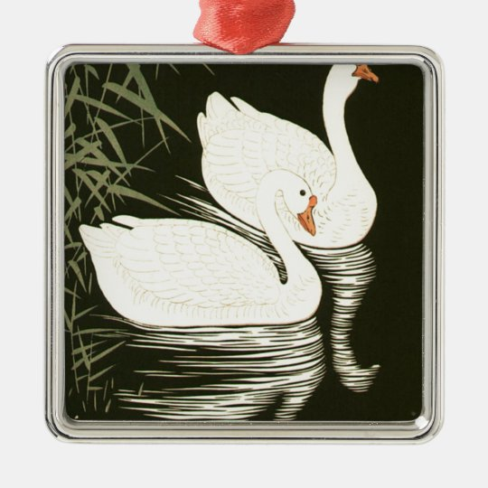 Swans and Reeds Silver-Colored Square Ornament