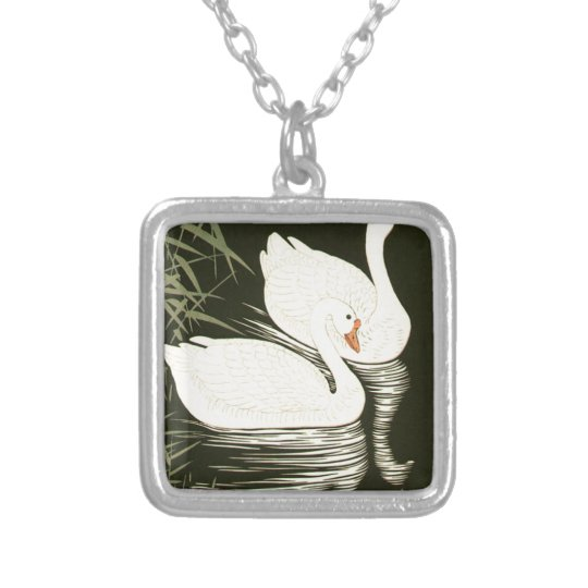 Swans and Reeds Silver Plated Necklace