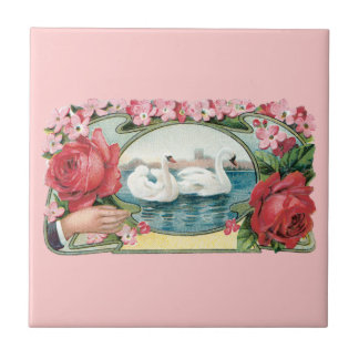 Swans and Roses Vintage Art Tile