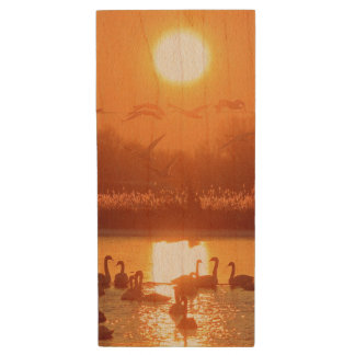 Swans at Sunrise Wood USB 2.0 Flash Drive