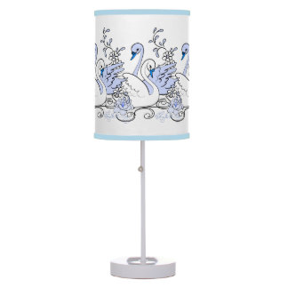 Swans Blue Water Lilies Table Lamp
