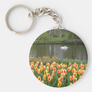Swans by a lake with tulips, Keukenhof Keychain