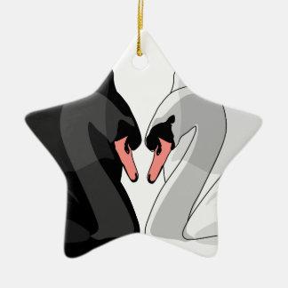 swans ceramic ornament