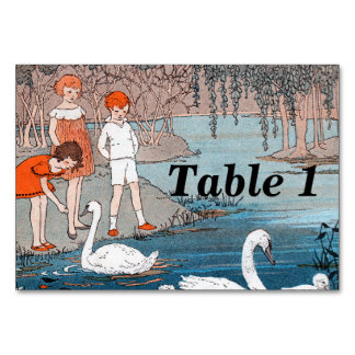 Swans Children Vintage Lake Scene Card