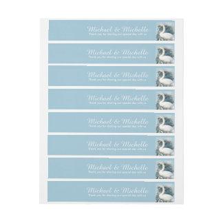 Swans floral swirls | PERSONALIZE Wraparound Address Label