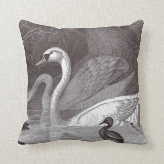 Swans in Black and White, Bird Toile Throw Pillow