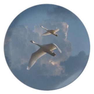 SWANS IN FLIGHT PLATE