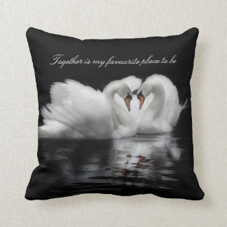 swans in love photograph black and white cushion