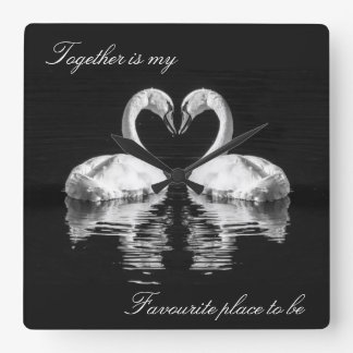 Swans in love wildlife clock