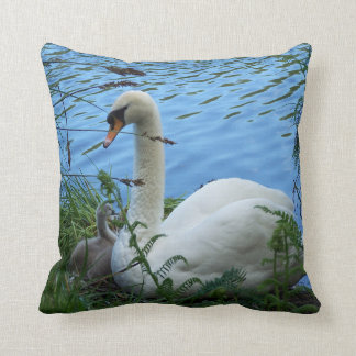 Swans Nest Mother Swan and Cygnet Baby Lake Throw Pillow