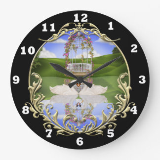 Swans on a pond wall clock