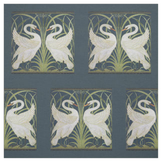 Swans on Blue Nouveau Birds Fabric