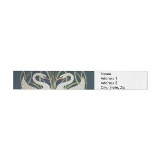 Swans on Blue Nouveau Birds Wraparound Address Label