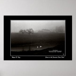 Swans on the Scamman Farm Pond Poster - w/Poem