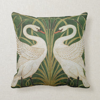 Swans, Rush & Iris by Walter Crane Throw Pillow