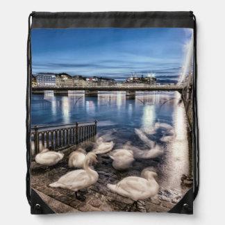 Swans shadows at Geneva lake, Switzerland Drawstring Bag