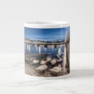 Swans shadows at Geneva lake, Switzerland Large Coffee Mug