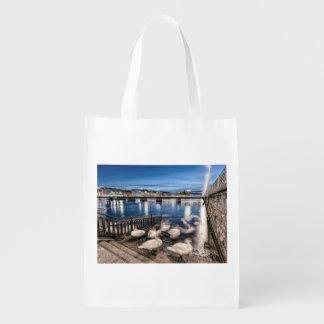 Swans shadows at Geneva lake, Switzerland Reusable Grocery Bag