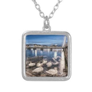 Swans shadows at Geneva lake, Switzerland Silver Plated Necklace