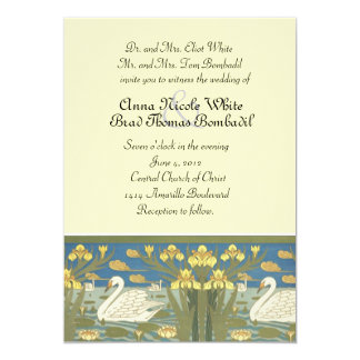 Swans Swimming Wedding Invitation