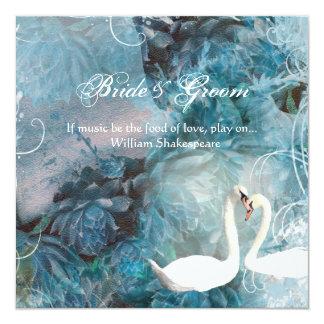 Swans vintage swirl teal pink card