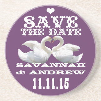 Swans Vintage Western Font Save the Date Gifts Drink Coaster